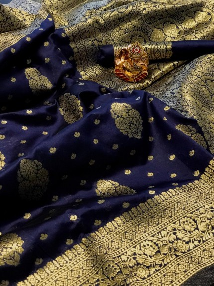 Blue soft banarasi silk weaving gold jari border saree