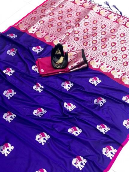 grabandpack Blue Soft Lichi silk saree