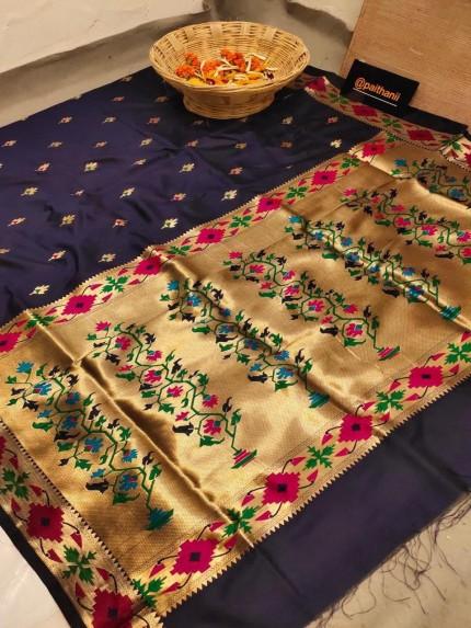 GrabandPack Blue Soft Paithani Silk Party wear Saree