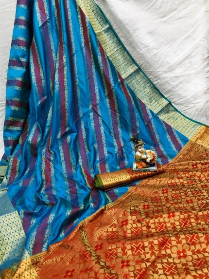 Blue Soft Pure Banarasi Patola Saree with Beautiful Weaving - gnp010052