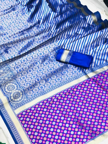 Blue Soft silk south indian style saree