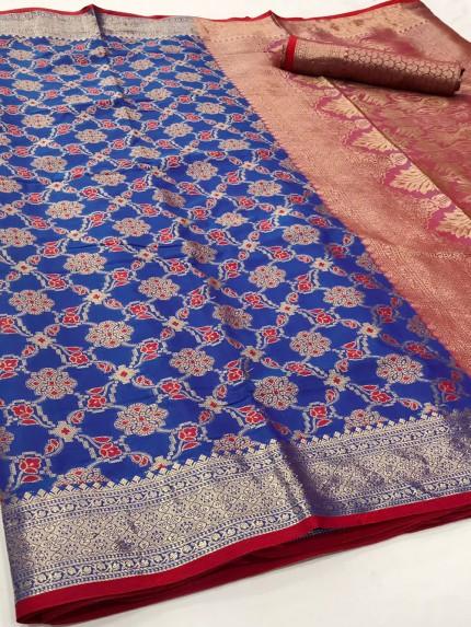 Blue Soft zari Weaving Silk Patola Saree - gnp0108860