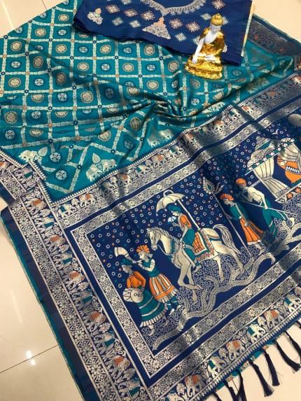 Beautiful Blue Festive Wear Adorable Saree gnp0108621