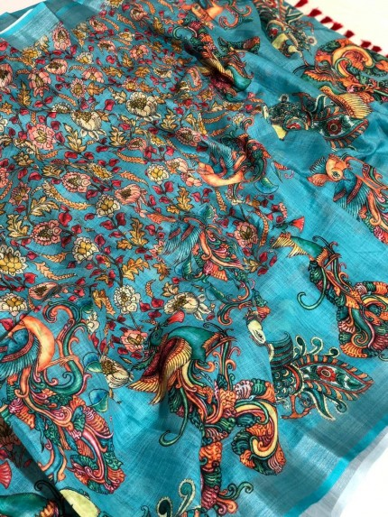 Blue Coloured Kalamkari saree