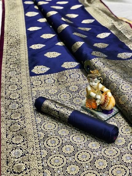 Blue Super Soft Banarasi Silk Saree With Weaving Gold Jari - gnp00961