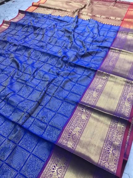 blue saree designer blouse