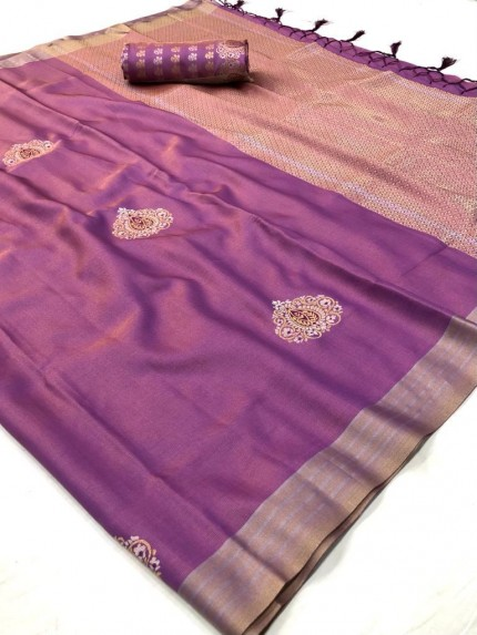 Branded Pink Soft Banarasi Silk Zari woven saree