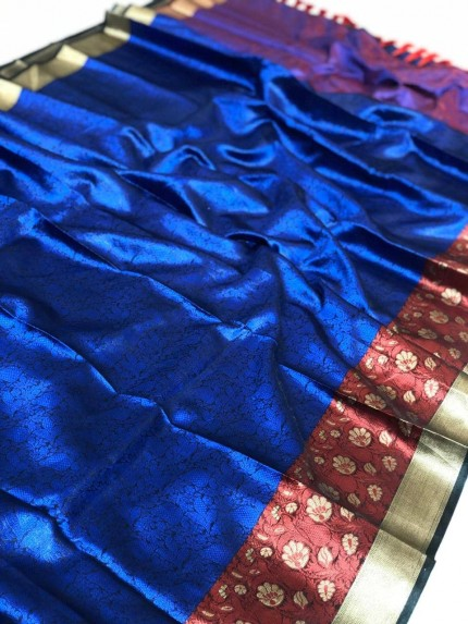 Branded Blue coloured kora muslin saree for womens