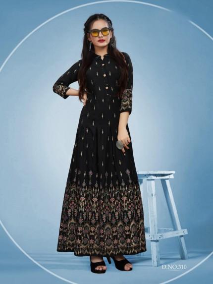 Branded Foil Print Designer Long Kurti in Black