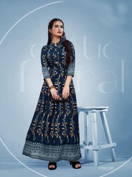 Branded Foil Print Designer Long Kurti in Blue