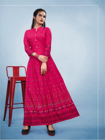 Branded Foil Print Designer Long Kurti in Pink