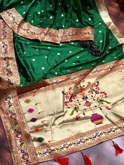 Branded Green Kanchipuram Paithani saree