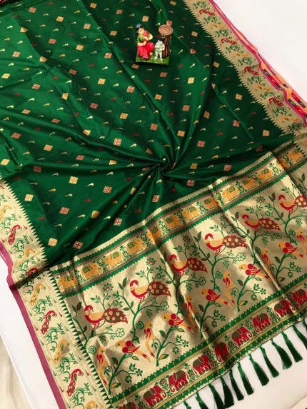 Traditional Lichi silk Green saree by grabandpack