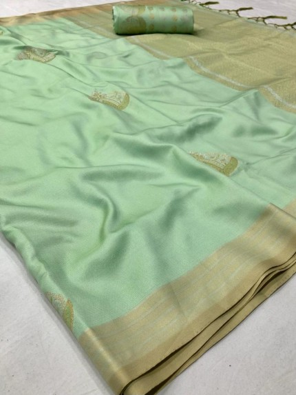 Branded Green Soft Banarasi Silk Zari woven saree