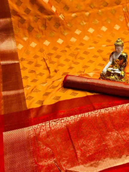 Orange color Lichi silk saree