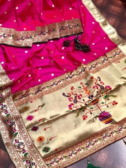 Branded Pink Kanchipuram Paithani saree