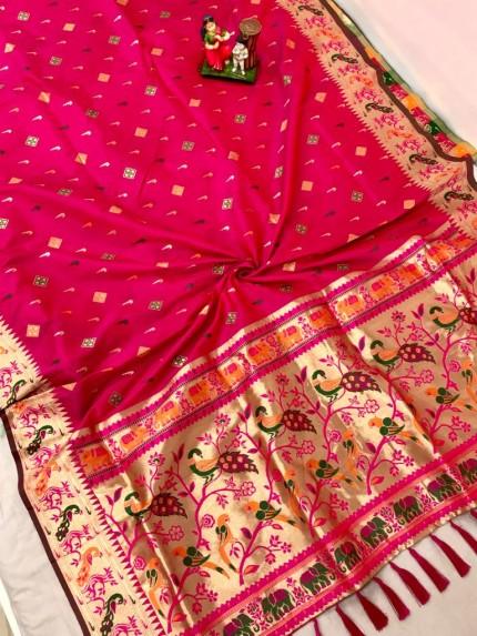 Traditional Lichi silk Pink saree by grabandpack