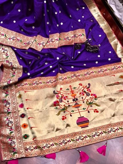 Branded Purple Kanchipuram Paithani saree