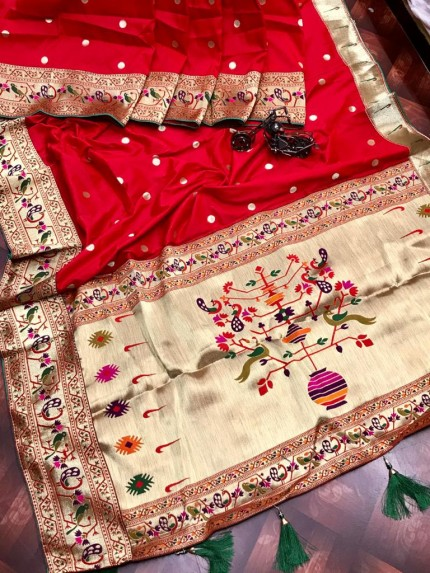 Branded Red Kanchipuram Paithani saree