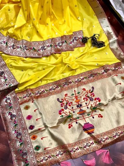 Branded Yellow Kanchipuram Paithani saree