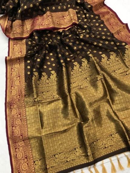 Brown Banarasi silk Party wear saree