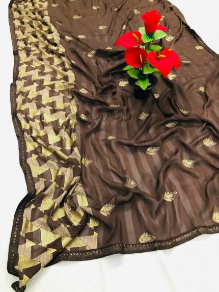 Brown Beautiful Export Quality Imported Original Mashkali Prizim Foil Saree - gnp0108693