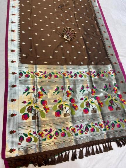 Brown Pethani Silk Blend Festive Wear Saree