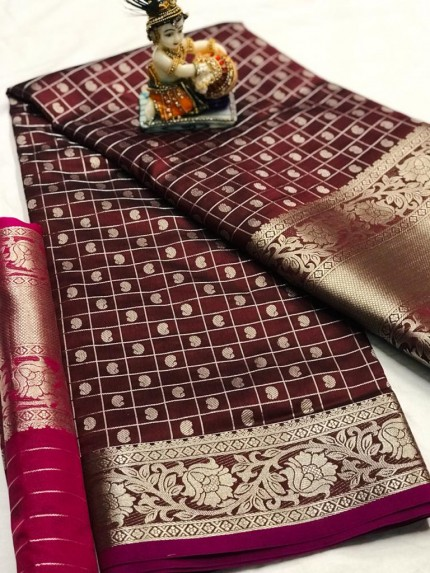 Brown Pure Silk Weaving with Chex Style and heavy Koyari Design - gnp009927