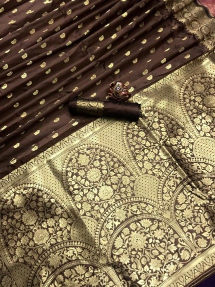 Brown Super Soft Feather Touch Banarasi Lichi Silk Saree - gnp010160