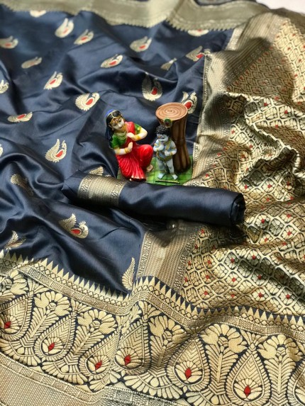 charming Black banarasi soft silk sarees online