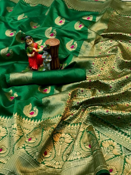 charming Green  banarasi soft silk sarees online