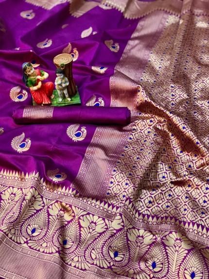 charming Pink banarasi soft silk sarees online
