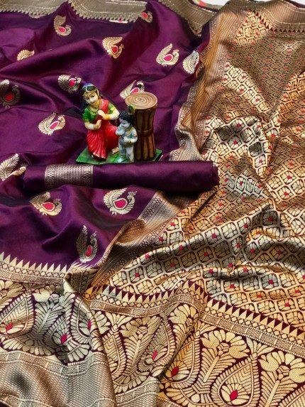 charming Purple banarasi soft silk sarees online