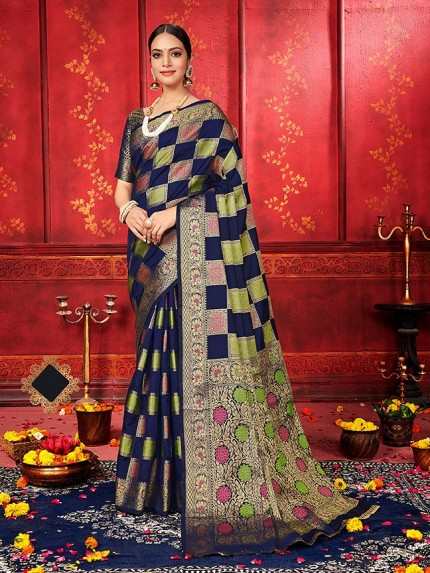 checks soft silk saree shopping in Blue