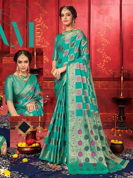 checks soft silk saree shopping in Green