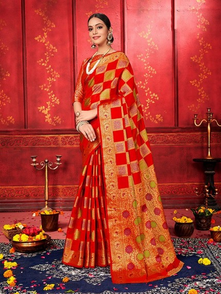 checks soft silk saree shopping in Red