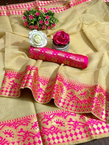 Cream kota doriya saree - Grab and Pack