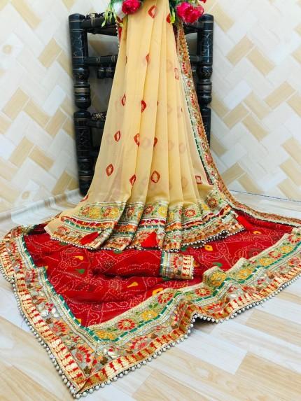 Cream maroon Bandhani party wear Half and Half saree gnp0107671