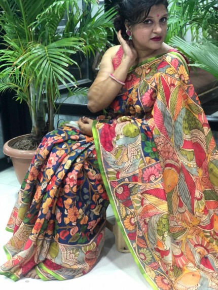 Digital Painted Kalamkari Linen Silk Saree - gnp009008