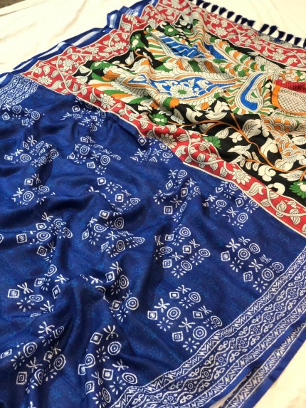Digital Printed Kalamkari Linen Silk Saree - gnp009048