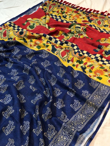 Digital Printed Kalamkari Linen Silk Saree - gnp009055