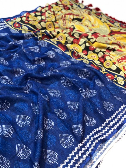 Digital Printed Kalamkari Linen Silk Saree - gnp009057