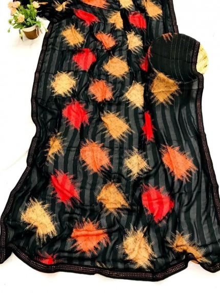 Elegant Black Chiffon Rembo jari Saree