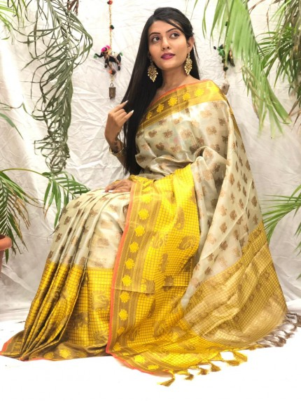 Exclusive Cream kora muslin sarees online shopping