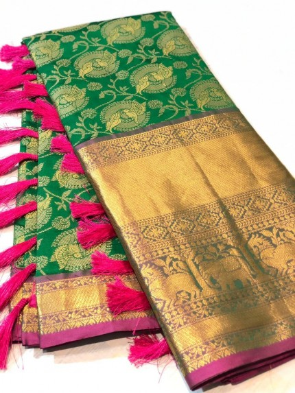 Exclusive Green Kanchipuram silk saree