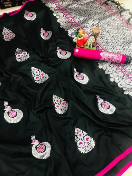 Black color soft silk saree