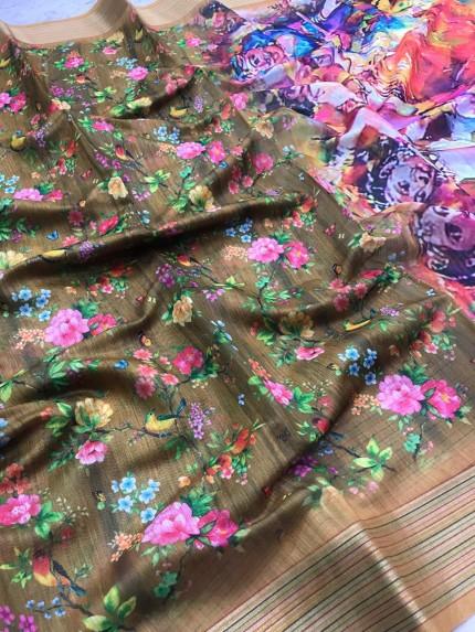 eye catching Green Butterfly Rainbow Border saree
