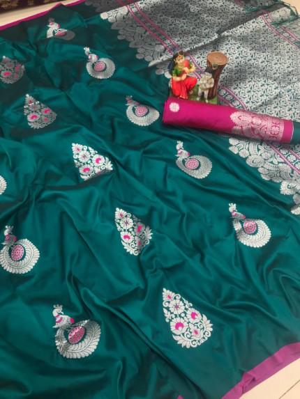 Green color soft silk saree