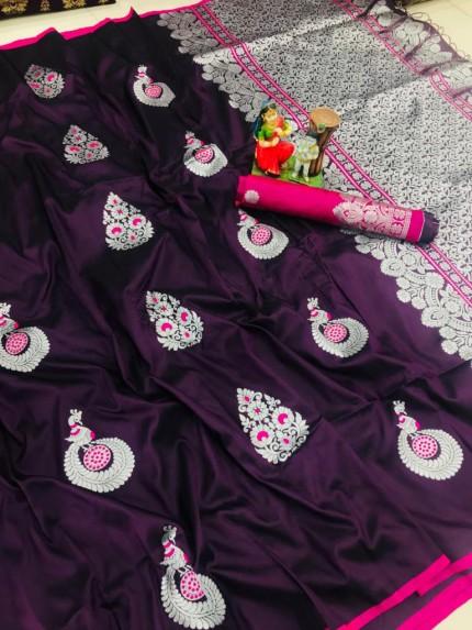 Purple color soft silk saree