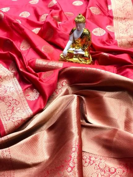 Peach coloured Lichi silk saree
